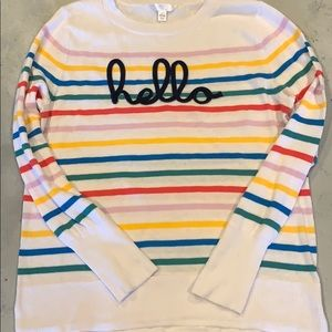 """""""Hello"""" Striped Sweater-Size Large"""